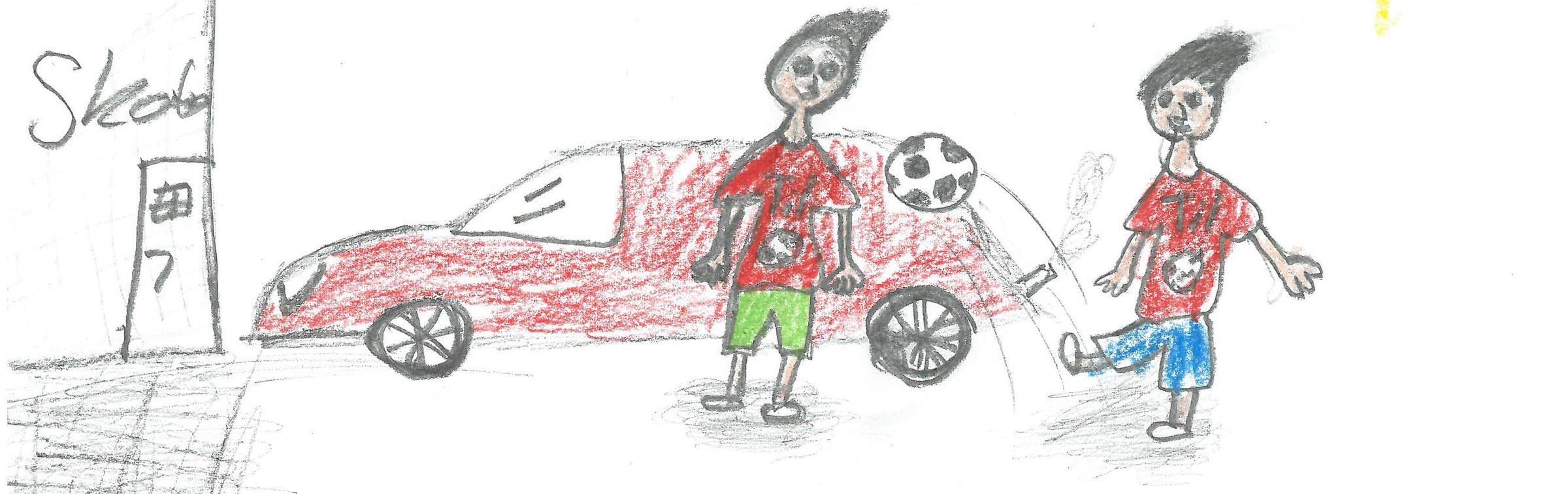 Tegning - fotball på skolen